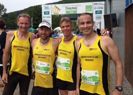 Burkhard Schöne, Michael Nottebohm, Thomas Schlünder und Bastian May beim Sauerland Trailrun